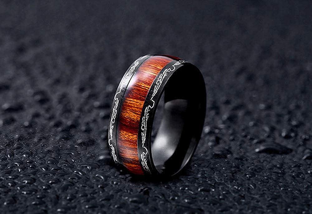 HIJONES Unisex Stainless Steel Rings Koa Real Wood Wedding Engagement Ring Band High Polished Finish