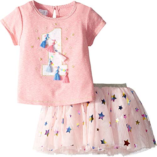 (Mud Pie Baby Girl's One Birthday Skirt Set (Infant) Pink 12-18 Months)