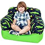 Yayme! Blue Green Alligator Crocodile Beanbag Chair | Our Bean Bag for Boys is Comfy and Shaped Like an Armchair | This Cute Design Will Make Every Little Boy's Room Fun While Playing Games