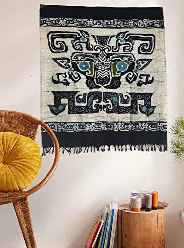 Aztec Art Totem Batik Tapestry Tassels Home Decor,30