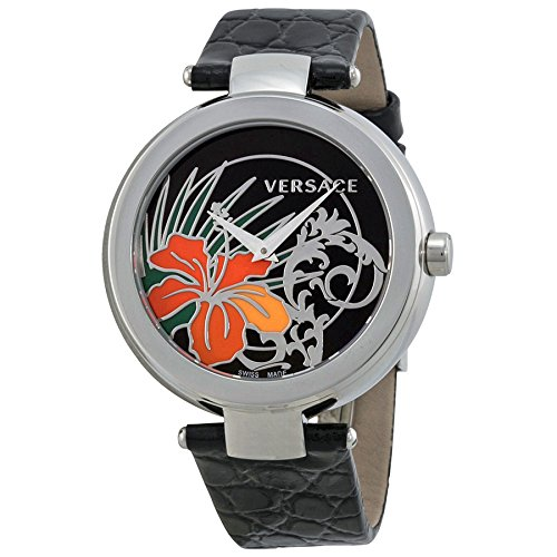 Versace Mystique Blackr Hibiscus Dial Black Leather Ladies Watch 19Q99D9HI-S009