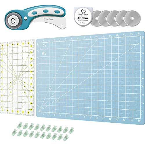 Rotary Cutter Set Turquoise - Quilting Kit incl. 45mm Fabric Cutter, 5 Replacement Blades, Cutting Mat, Acrylic Ruler and Craft Clips - Ideal for Crafting, Sewing, Patchworking, Crochet & Knitting