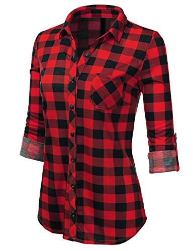 H2H Womens Classic Flannel Plaid Checker Button Down Roll Up and Long Sleeves Shirt Top REDBLACK US S/Asia S (AWTSTL0489) (Checker Red)