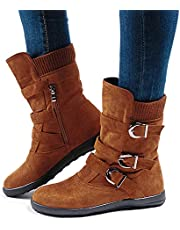 Ladies Fur Lined Boots Womens Winter Flat Mid Calf Boots Buckle Zip Slip On Suede Leather Snow Boots Warm Comfort Brown 39 EU