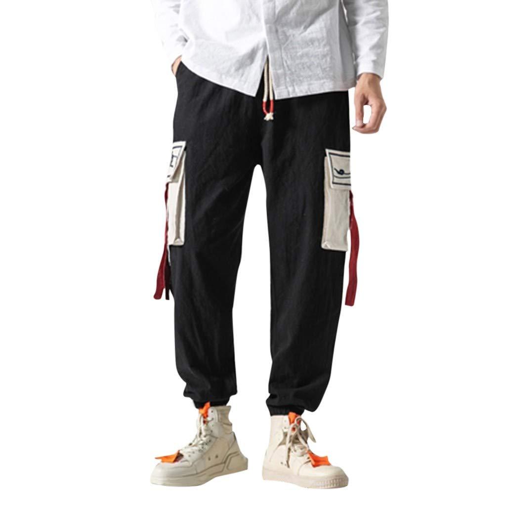 Jogger Pants for Men,Alalas Men's Drawstring Beach Pant Summer Cotton Linen Loose Yoga Jogger Pants Black