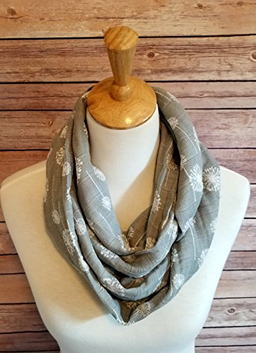 Women's Grey Cotton Infinity Loop Scarf
