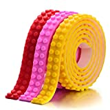 lego base tray - 3 Colors Building Block Tape Rolls Compatible with Lego Blocks Self-Adhesive (Yellow+Red+Pink)