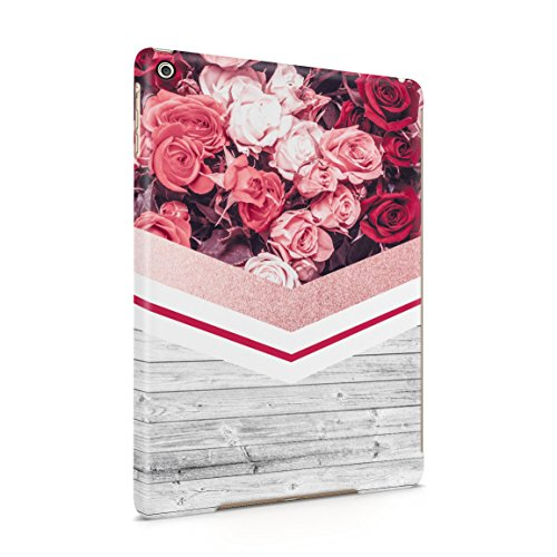 Floral Red Roses & Pale Grey Wood Planks Block Hard Plastic Tablet Case For iPad Air 1