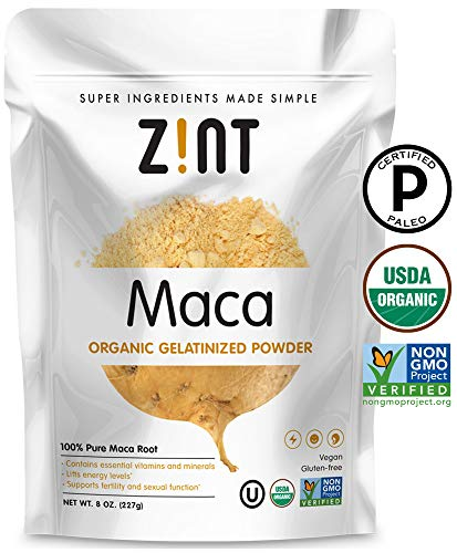 Zint Organic Maca Powder: Paleo Certified, Gelatinized, Non GMO, Yellow Maca Root - Adaptogen Superfood (8 oz)