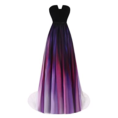 Aprilbridal Womens Gradient Chiffon Beach Prom Dresses Long Ombre Maix Evening Gowns