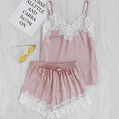 Roselv New Women Elegant Nightdress V-Neck Lace Satin Sleepwear Feminine Black Pajamas Set Sexy Camisole Shorts 2 PCS Pink L