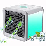 Winique Personal Space Air Cooler, 4 in 1 Portable Air Conditioner, Humidifier, Purifier, Personal Fan, 7 Colors Nightstand & 3 Speed Modes Personal Evaporative Cooling Fan for Home Dorm Travel