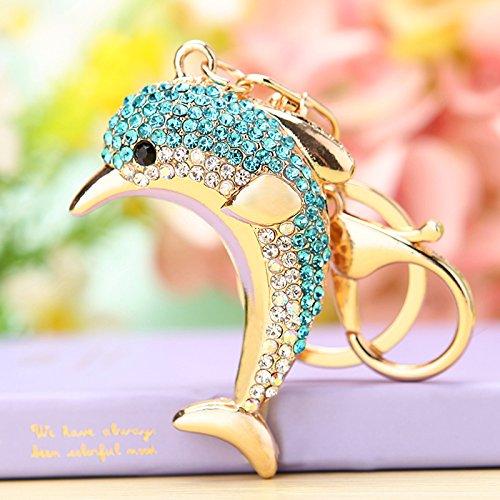 Cute Dolphin Sparkling Charm Blingbling Keychain Crystal Rhinestone Pendant (Blue)