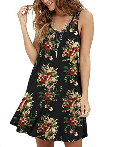 MOLERANI Women's Summer Floral Dresses Sleeveless Tunic T Shirt Swing Dresses Green Leaves Red L