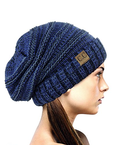 NYFASHION101 Oversized Baggy Slouchy Thick Winter Beanie Hat, Navy Mix