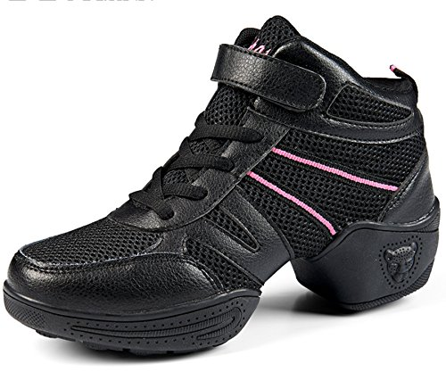 Mesh Shoes Ladies 1 High Black Trainer VECJUNIA Walking Top Dance Dance Shoes qF5awX