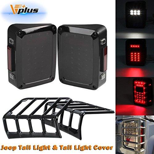 Vplus (Pack of 4 Jeep Wrangler Black Taillights Light Guard Covers & Smoke Lens Rear LED Tail Lights Tail Lamp Assembly Backup Reverse Running Brake Turn Signal for Jeep Wrangler CJ TJ 2007-2017 ()