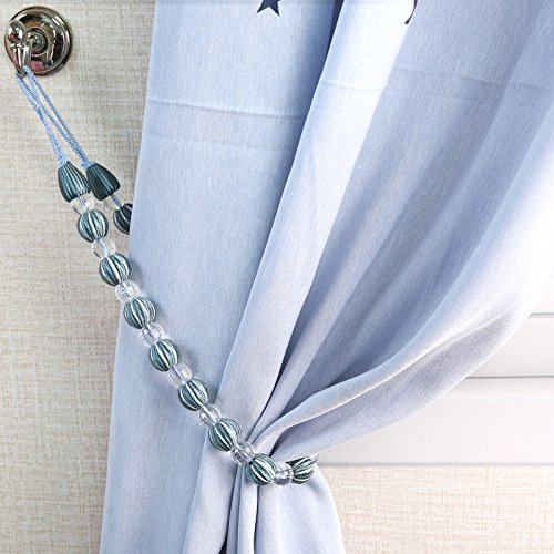 Rayon Curtain - Eamior Curtain Tiebacks Rope Drapery Hodbacks Stylish Curtain & Drapery Tie Back Rope Made of Rayon Encased Wooden Beads & Clear Crystal-Like Beads for Girls Room and Nursery, Set of 2 Blue