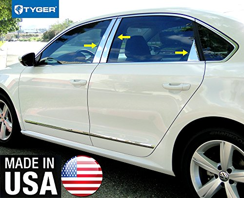 - Made in USA! Works with 2012-2019 Volkswagen Passat 6PC Stainless Steel Chrome Pillar Post Trim