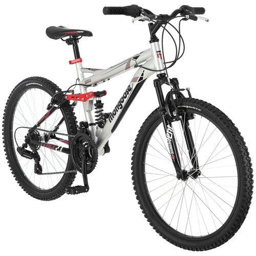 24'' Mongoose Ledge 2.1 Boys' Mountain Bike, Silver/red
