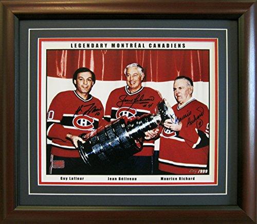 M. Richard, Beliveau and Lafleur Facsimile Autographs Framed - Ltd Ed /999 - Framed Ltd Ed