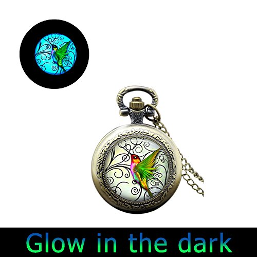 Glowlalaglowing Hummingbird Watch Jewelry Green Hummingbird Watch Necklace Hummingbird Charm Pocket Watch Pendant Necklace (3) from Laco/1925