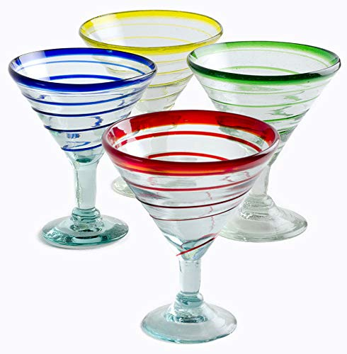 Orion Assoted 12 oz Margarita/Martini Spiral- Set of 4  (Multi) ()
