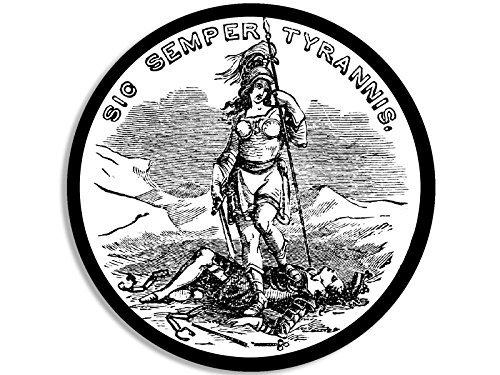 New England Patriots 4x6 Rug (ROUND Sic Semper Tyrannis Sticker (va virginia patriot tea))