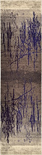 Modern Abstract 3 feet by 10 feet (3' x 10') Runner Barcelona Brown Contemporary Area Rug (Barcelona Brown Rug)
