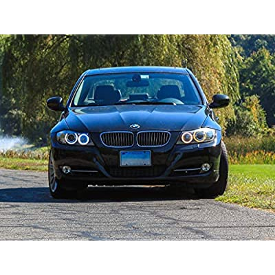 LUX H8 V6 Adjustable White LED Angel Eyes BMW: Automotive