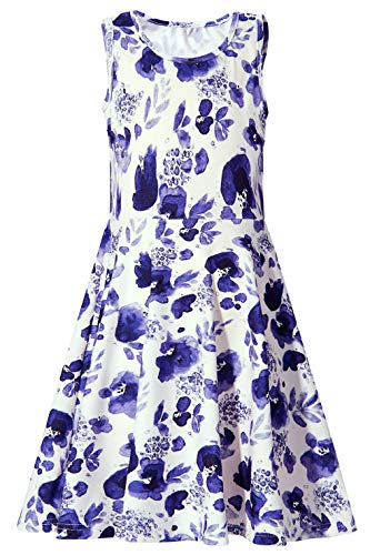 Girls Dress Floral, Girls Sundresses Size 6-7 Sleeveless Crewneck Legging Party Swing Dress for Youngs Girls Spring (M,Blue White Flower)