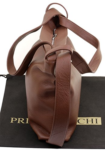 Primo Italian Grab Bag Shoulder Backpack Handbag Leather Textured Sacchi Brown Ladies pHwZxHqBS