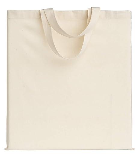 POLHIM-Bolsa Tela 100% Algodón Biodegradable,Lavable,Reutilizable-Asas Cortas de 35cm.para Ropa,Manualidades,Alimentos,Verduras, IR de Paseo y Uso ...