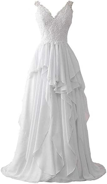 Dingzan White Chiffon And Lace Beach Wedding Dresses For Bride At Amazon Women S Clothing Store