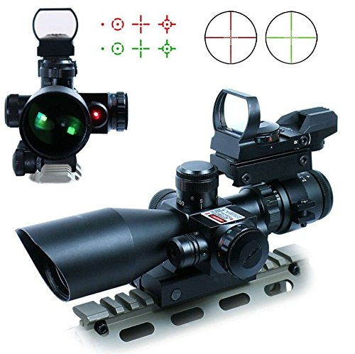 Tworld Rifle Scope 2.5-10x40 Tactical Rifle Scope Dual Illuminated Mil-dot with Red Laser, Rail Mount and 4 Reticle Red and Green Dot Open Reflex Sight with Weaver