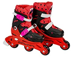 Triskate fun, inline skates for beginners, with pictures of your favourite characters, you can make and practise turns in the skate park.