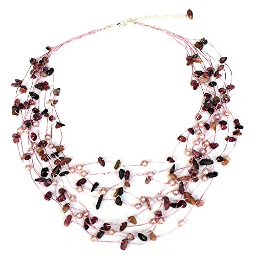 Earth Beaded Necklace - NOVICA Dyed Cultured Freshwater Pearl and Tourmaline Beaded Strand Necklace, 20
