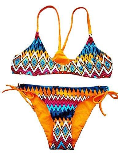 Meiren Top de la mujer bikinis, diseño floral acolchado sujetador algodón/spandex, color amarillo: Amazon.es: Ropa y accesorios