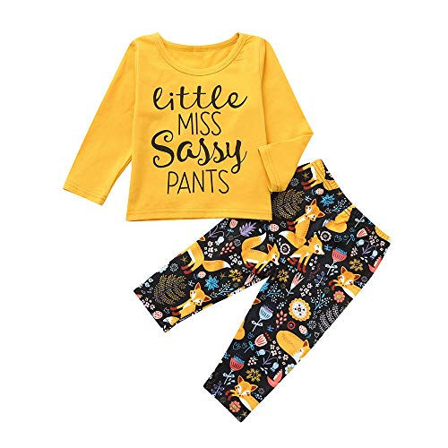 HHei_K Infant Toddler Baby Outfits Sets Long Sleeve Letter Cartoon Fox Forest Floral Tops Pants 2 Pieces Clothing Set Yellow