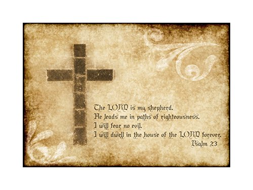 (The Art Stop Quote Psalm 23 Lord Shepherd Cross Christian Religion Print F12X6175)