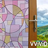 VViViD Stained Glass Abstract Circles Roman Style Static Cling Vinyl Privacy Film Decorative Window Decal for Bathroom, Kitchen, Home, Office Easy DIY Adhesive-Free (36'' x 6.5ft)