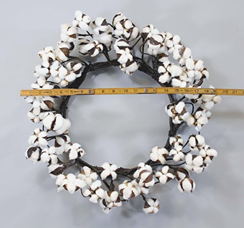 "Real Cotton Wreath - 18""-28"" - Adjustable Stems - Farmhouse"
