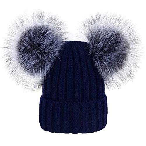 DELORESDKX Women's Winter Beanie Hat Knitted Faux Fur Double Pom Pom Beanie Hat Pompom Ears (Navy ()