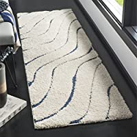 Safavieh Florida Shag Collection SG472-1165 Cream and Blue Runner (23 x 7)