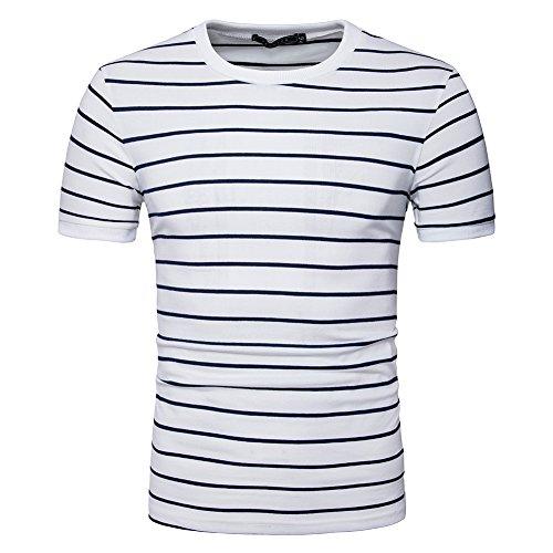 LOCALMODE Men's Slim Round Neck Vintage T Shirt with Horizontal Stripe White M