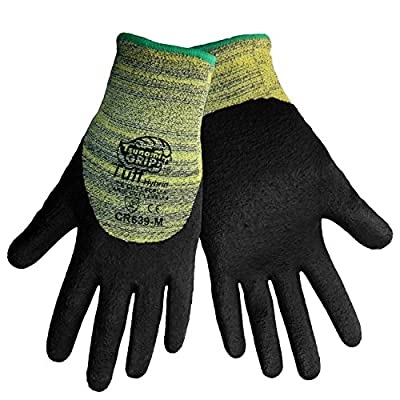 Global Glove CR639 Tsunami Grip Tuff Kevlar Hybrid Glove, Cut Resistant, Yellow/Black (3 Pack)