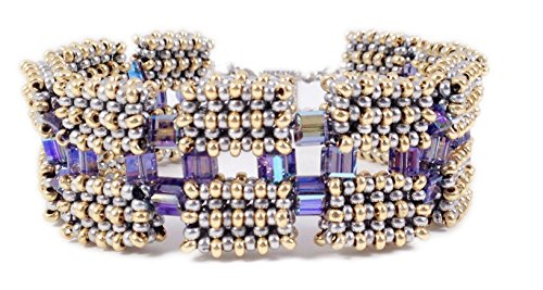 Leenou Handmade Beaded Bracelet Cuff Blue Gold Color with Crystal Cubes for Anniversary and Wedding Occasions