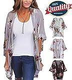 YnimioAOX Women's 3/4 Sleeve Floral Kimono Casual Cardigan Sheer Loose Shawl Chiffon Beach Cover up (B-Lavender Gray, M)