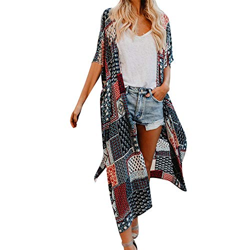 (Aniywn Women Vintage Long Smock Casual Shortsleeve Printing Belt Cardigan Tops Blouse Gray)