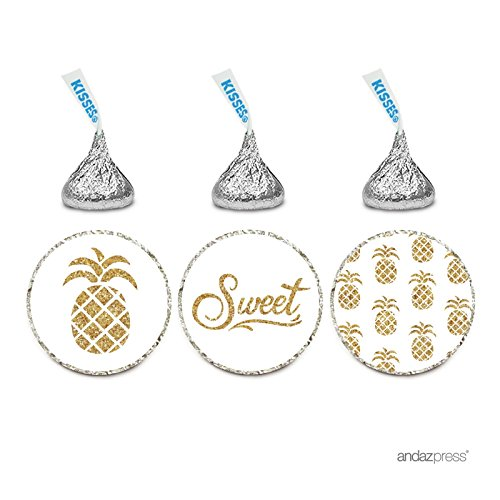Andaz Press Birthday Chocolate Drop Labels Trio, Fits Hersheys Kisses Party Favors, Gold Pineapples, 216-Pack